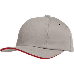 Бейсболка Bizbolka Canopy, серая с красным кантом