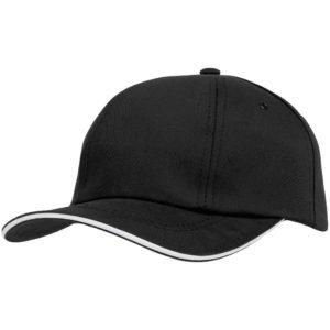 Бейсболка Bizbolka Canopy, черная с белым кантом