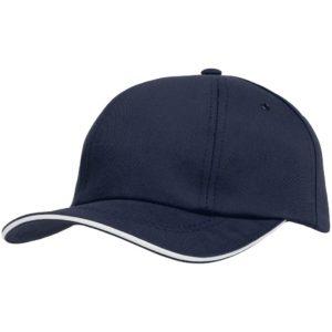 Бейсболка Bizbolka Canopy, темно-синяя с белым кантом