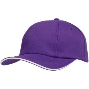Бейсболка Bizbolka Canopy, фиолетовая с белым кантом
