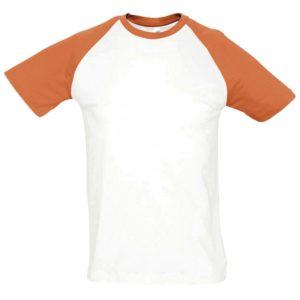Футболка мужская двухцветная Funky 150, белая с оранжевым