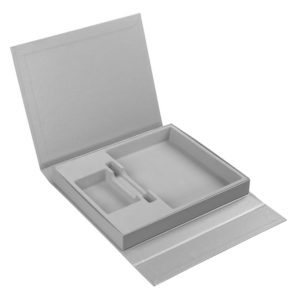 Коробка Status под ежедневник, аккумулятор и ручку, серебристая