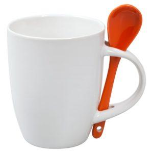 Кружка с ложкой Cheer Up, белая с оранжевой
