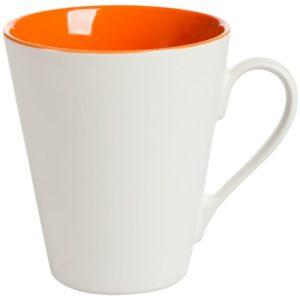 Кружка New Bell матовая, белая с оранжевым