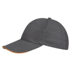 Бейсболка Buffalo, серая с оранжевым